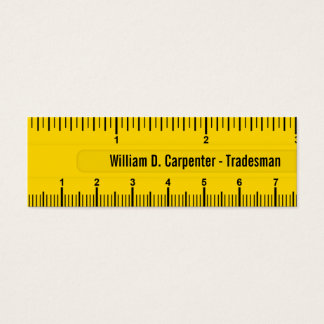 Yellow Ruler or Rule Contruction Professional Mini Business Card