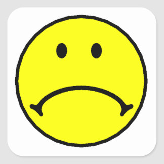 Yellow Sad Face Square Stickers