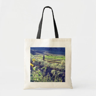 yellow Sage brush and cedar rail fence flowers Tote Bags