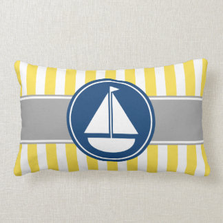 Yellow Sailboat Stripes Lumbar Pillow