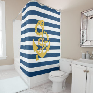 Yellow Sailing Anchor Blue White Striped Shower Curtain