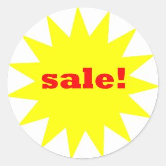 Yellow Sale round stickers