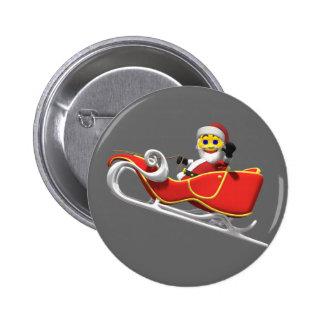 Yellow santa smiley in his christmas sleigh button