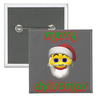 Yellow santa smilie with merry christmas pinback button