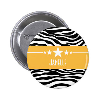 Yellow Sassy Star Zebra Button