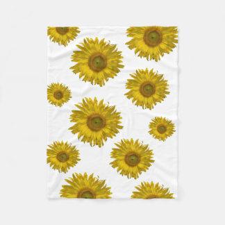 Yellow Scattered Sunflowers Fleece Blanket