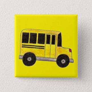 Yellow School Bus Buses Driver Teacher Education 15 Cm Square Badge