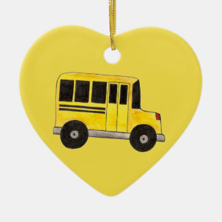 Yellow School Bus Driver Teacher Education Gift Ceramic Ornament