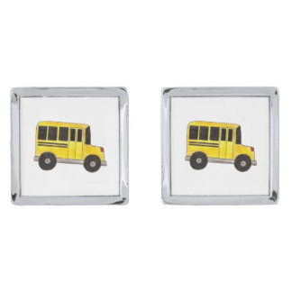 Yellow School Bus Teacher Driver Gift Cufflinks Silver Finish Cuff Links