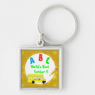 Yellow School  Bus Worlds Best Teacher Keychain