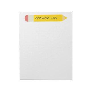 Yellow School Pencil Top Notepad
