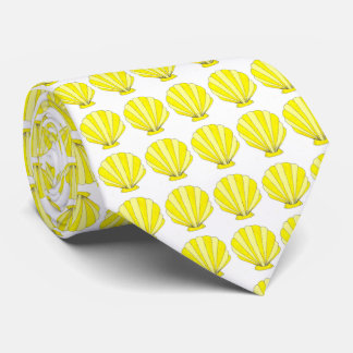 Yellow Sea Shell Seashell Shells Print Beach Tie