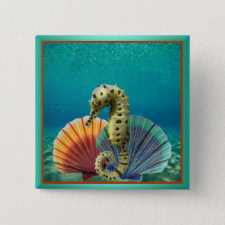 Yellow Seahorse and Scallop Shells 15 Cm Square Badge