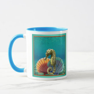 Yellow Seahorse and Scallop Shells Mug