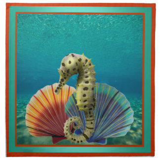 Yellow Seahorse and Scallop Shells Napkin