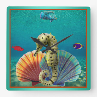 Yellow Seahorse and Scallop Shells Square Wall Clock