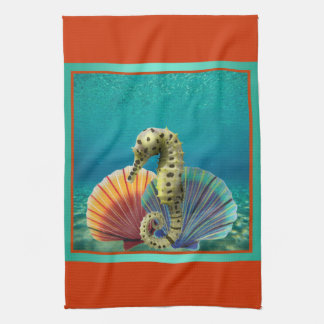 Yellow Seahorse and Scallop Shells Tea Towel