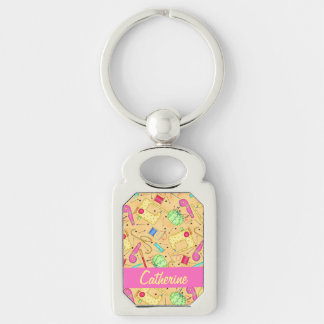 Yellow Sewing Notions Art Name Personalizd Key Ring