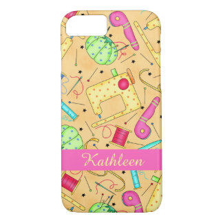 Yellow Sewing Notions Art Name Personalized iPhone 7 Case