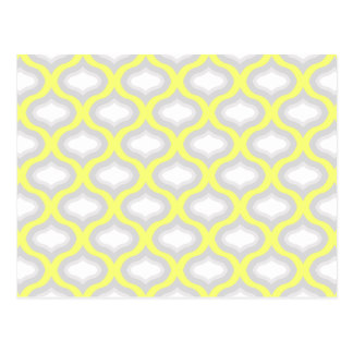 Yellow & Shades of Grey Geometric Pattern Postcard