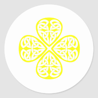 yellow shamrock celtic knot classic round sticker