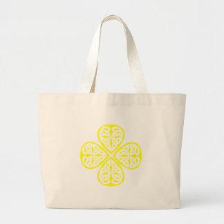 yellow shamrock celtic knot large tote bag
