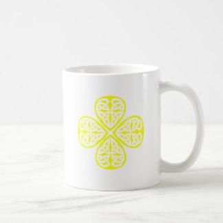 yellow shamrock celtic knot mug
