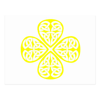 yellow shamrock celtic knot post cards