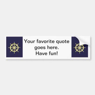 Yellow Ship Helm - Navy Blue Bumper Sticker