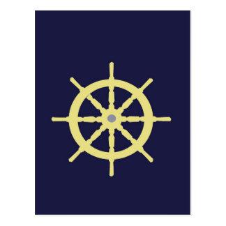 Yellow Ship Helm - Navy Blue Postcard