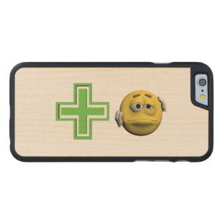 Yellow sick emoticon or smiley carved maple iPhone 6 case