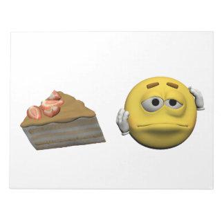 Yellow sick emoticon or smiley notepad