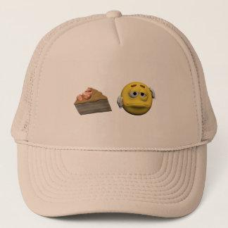 Yellow sick emoticon or smiley trucker hat