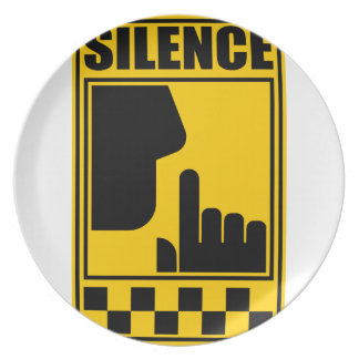 Yellow Silence Sign Plate