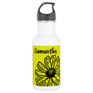 Yellow Simple Bright Fun Daisy Personalize 532 Ml Water Bottle