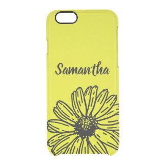 Yellow Simple Bright Fun Daisy Personalize Clear iPhone 6/6S Case