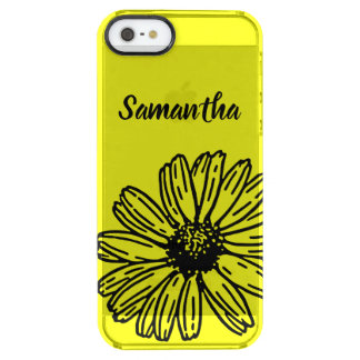 Yellow Simple Bright Fun Daisy Personalize Clear iPhone SE/5/5s Case
