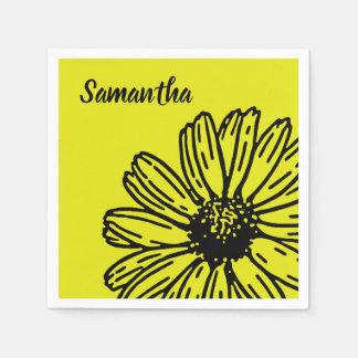 Yellow Simple Bright Fun Daisy Personalize Disposable Napkin