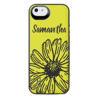 Yellow Simple Bright Fun Daisy Personalize iPhone SE/5/5s Battery Case