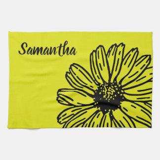 Yellow Simple Bright Fun Daisy Personalize Tea Towel