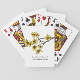 Yellow Simple Cherry Blossoms Playing Cards