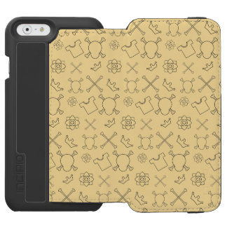 Yellow Skull and Bones pattern Incipio Watson™ iPhone 6 Wallet Case