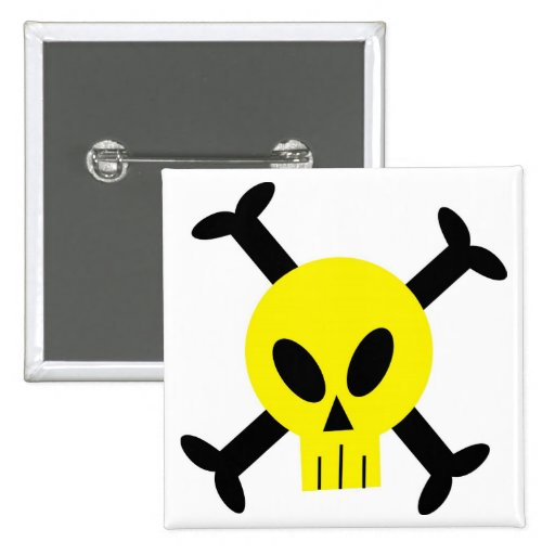 Yellow Skull And Crossbones Button