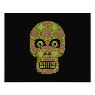 Yellow Skull Fractal Pattern Photographic Print