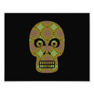 Yellow Skull Fractal Pattern Photographic Print