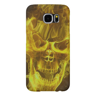 yellow skull head on fire samsung galaxy s6 cases