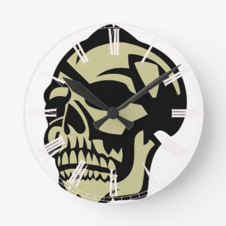 Yellow skull round clock