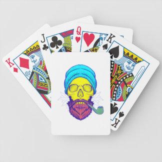 Yellow Skull Smoking Pipe. Bicycle Playing Cards