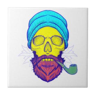 Yellow Skull Smoking Pipe. Ceramic Tile