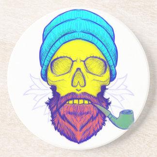Yellow Skull Smoking Pipe. Coaster